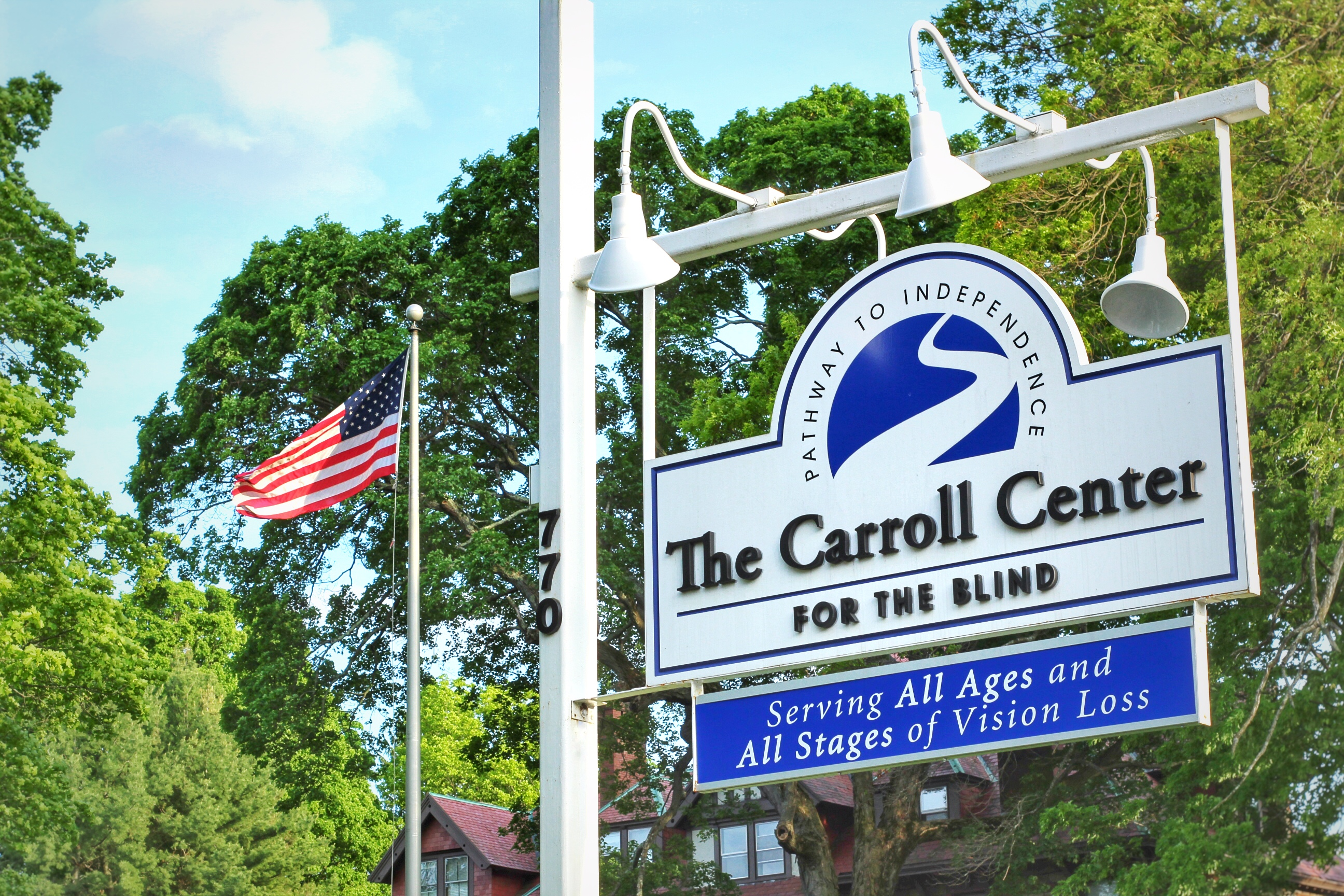 Carroll Center for the Blind Sign with American Flag
